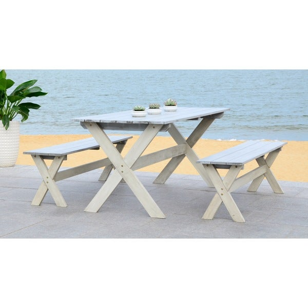 Safavieh Outdoor Living Marina Grey/ White Bench and Table Set (3-piece) 15696304