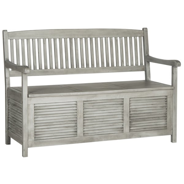 Safavieh Outdoor Living Brisbane Grey Storage Bench