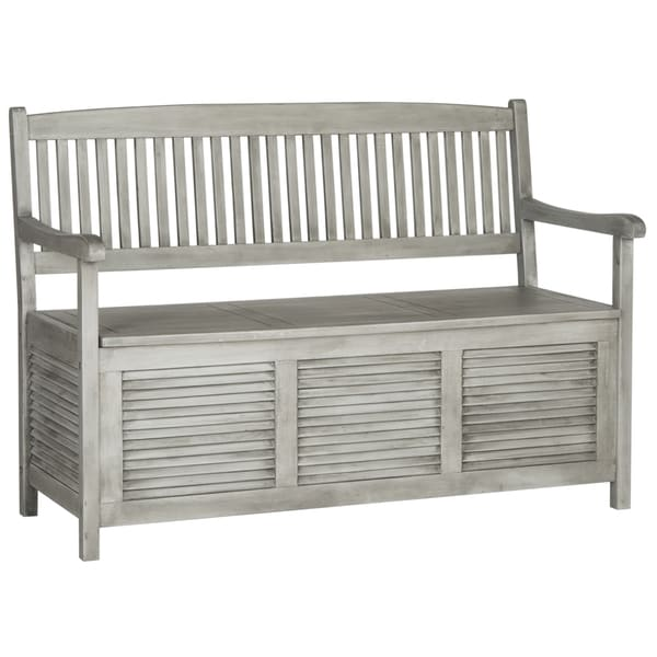 Safavieh outdoor living brisbane grey storage bench overstock shopping great deals on Gray storage bench