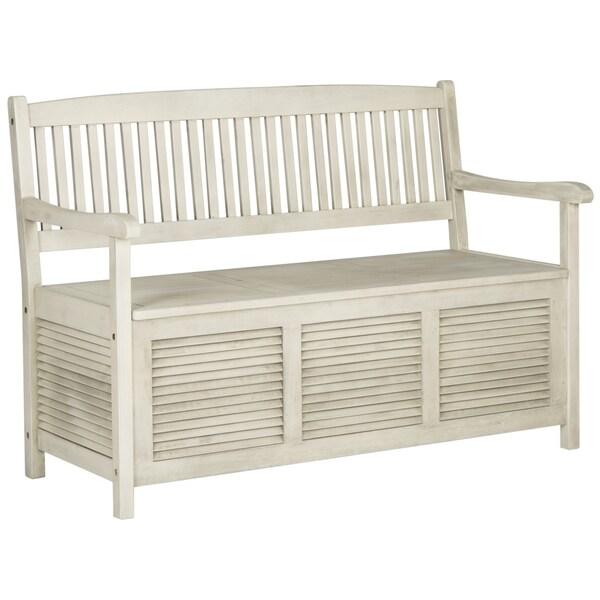 Safavieh Outdoor Living Brisbane Distressed White Storage Bench 17413695