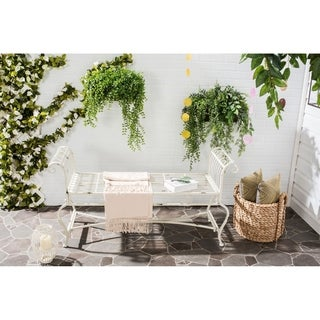 Safavieh Outdoor Living Rustic Brielle Antique White Iron Bench