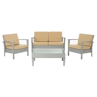 Safavieh Outdoor Living Grey/ Beige Piscataway Patio Set (4-piece)