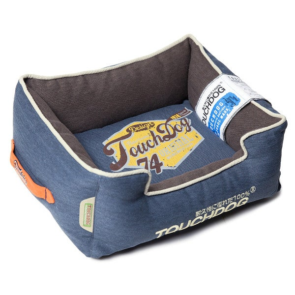Touchdog Original Sporty Vintage Throwback Reversible Plush Rectangular Dog Bed