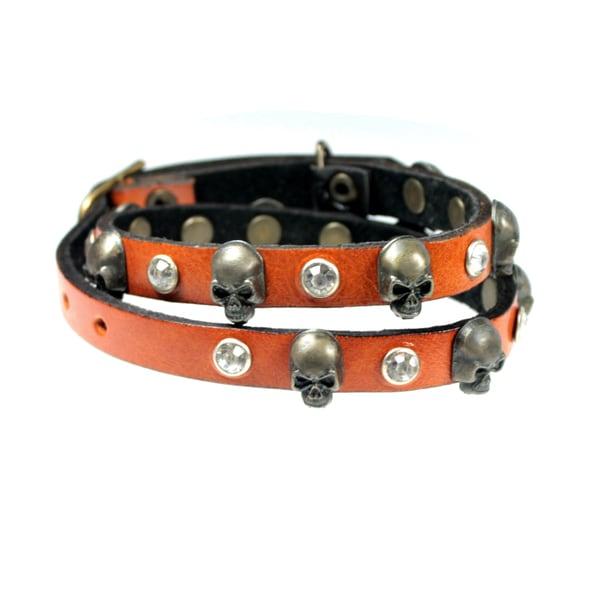 Edgy Skull and Crystal Burnt Orange Leather Double Wrap Buckle Bracelet