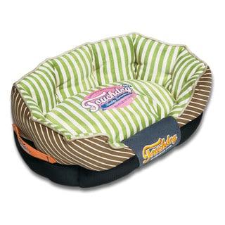 Touchdog Neutral-Striped Ultra-Plush Rectangular Rounded Designer Dog Bed