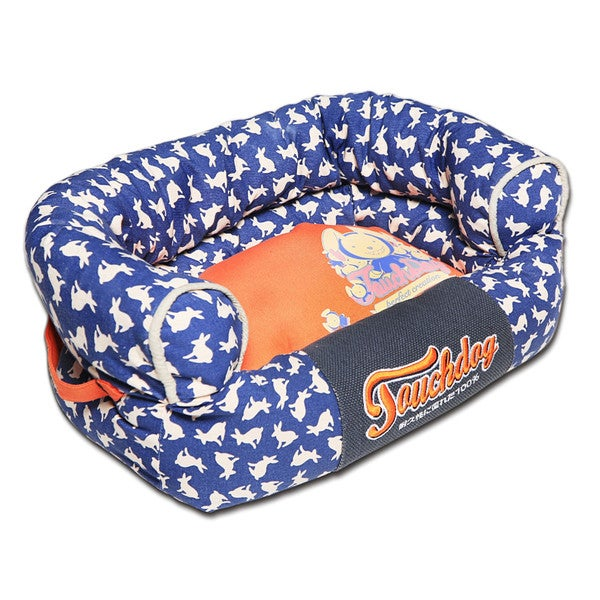 Touchdog Lazy-Bones Rabbit-Spotted Premium Easy Wash Couch Dog Bed