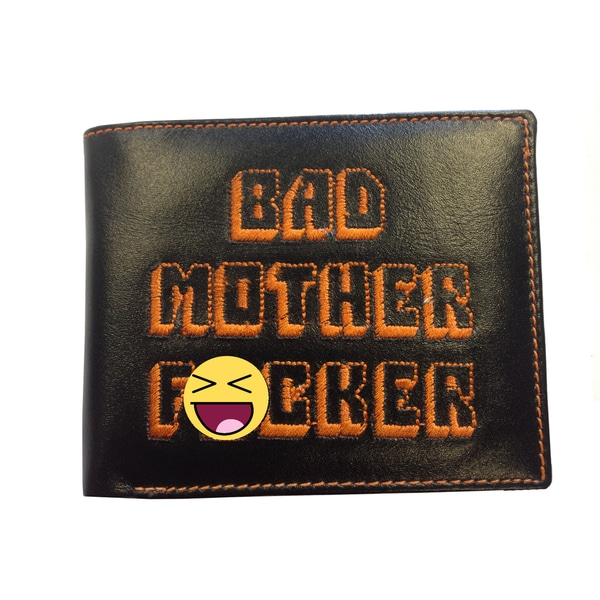 Bad Mother F*cker Black Leather Embroidered Wallet