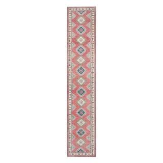 Herat Oriental Afghan Hand-knotted Tribal Vegetable Dye Kazak Salmon/ Ivory Wool Rug (2'7 x 13'6)
