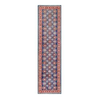 Herat Oriental Afghan Hand-knotted Tribal Vegetable Dye Kazak Navy/ Red Wool Rug (2'8 x 9'11)