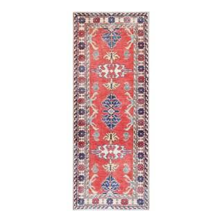 Herat Oriental Afghan Hand-knotted Tribal Vegetable Dye Kazak Red/ Ivory Wool Rug (2'5 x 6'2)