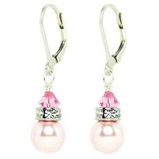 Queenberry Sterling Silver Pink Swarovski Elements/ Pearl Leverback Earrings