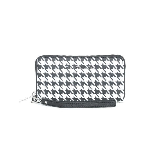 MICHAEL Michael Kors Houndstooth Jet Set Travel Large Phone Case