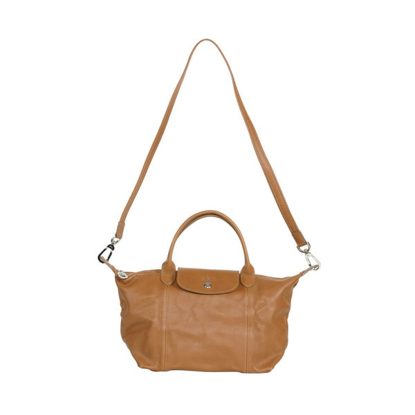 Longchamp Camel Le Pliage Cuir Small Handbag