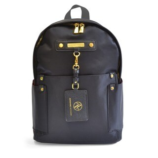 Adrienne Vittadini Black High Density Nylon Fashion 15-inch Backpack