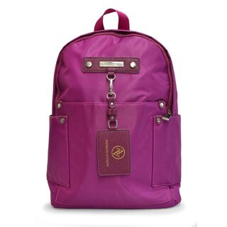 Women's Adrienne Vittadini 15in High Density Nylon Fashion Backpack Raspberry