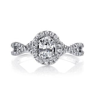 14k White Gold 7/8ct TDW Diamond Oval Engagement Ring (H-I, I1-I2)