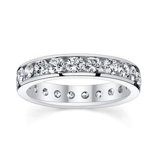 14k White Gold 2 3/8 to 2 3/4ct TDW Diamond Eternity Wedding Band (H-I, I1-I2)