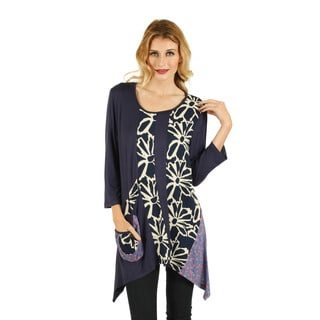 Women's 3/4 Sleeve Blue Multicolor Top with Sidetail