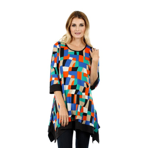 Women's 3/4 Sleeve Multicolor Tunic with Sidetail