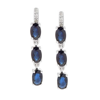 Viducci 10k White Gold Oval Gemstone and Diamond Accent Earrings