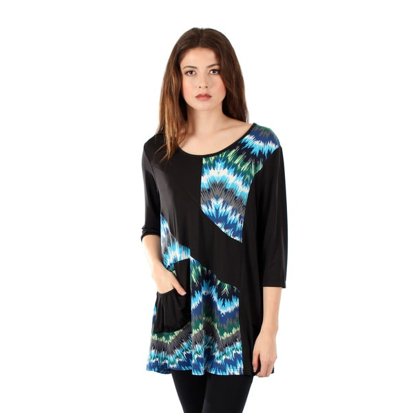 Women's 3/4 Sleeve Turquoise and Black Top