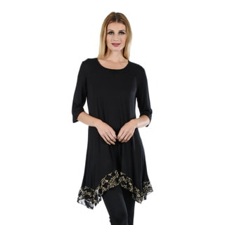 Women's 3/4 Sleeve Black/ Beige Tunic with Lace Sidetail