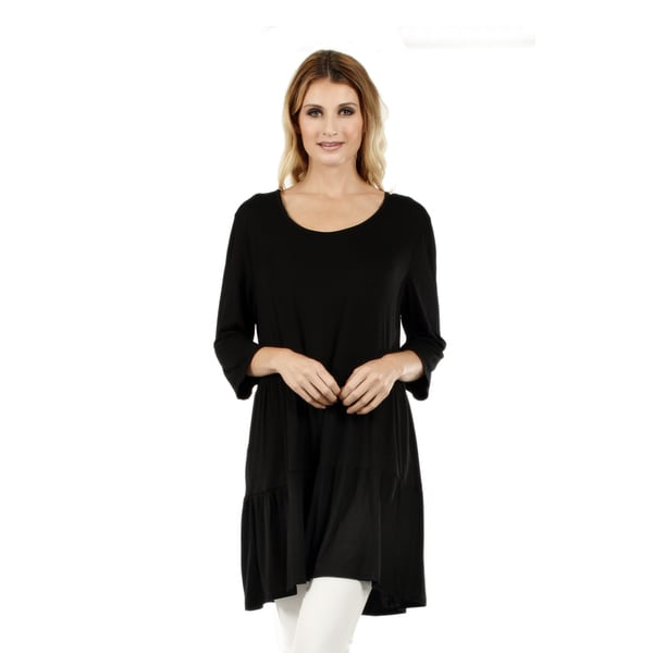 Women's 3/4 Sleeve Black Tunic