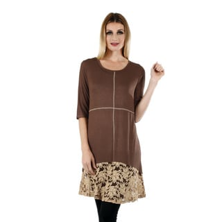 Women's 3/4 Sleeve Brown Tunic with Lace