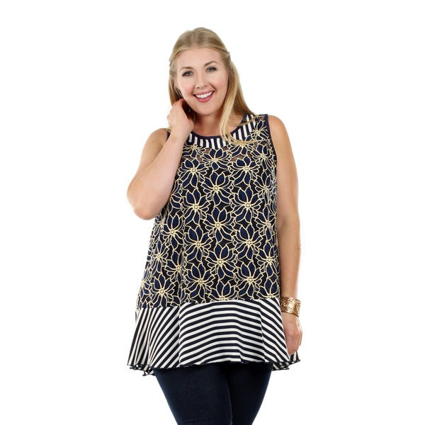Women's Plus Size Sleeveless Blue/ Beige Floral and Stripe Pattern Tunic