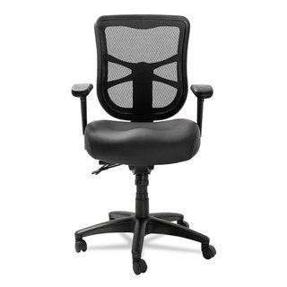 Alera Elusion Series Black Leather Mesh Mid-Back Multifunction Chair