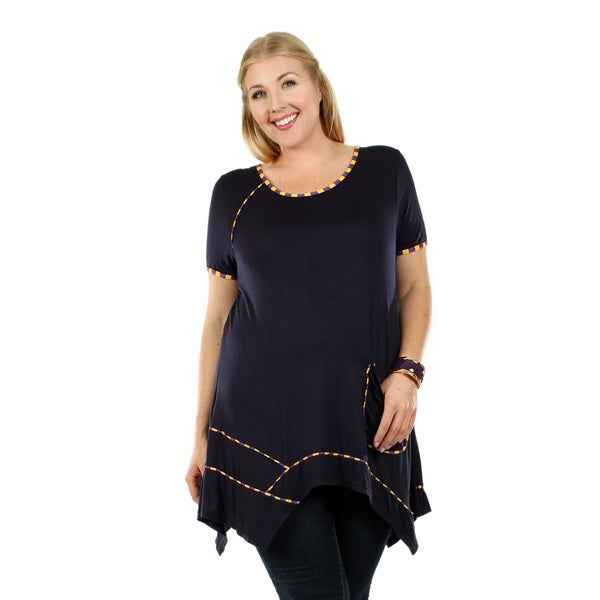 Women's Plus Size Short Sleeve Blue Multi Tunic with Pocket and Sidetail