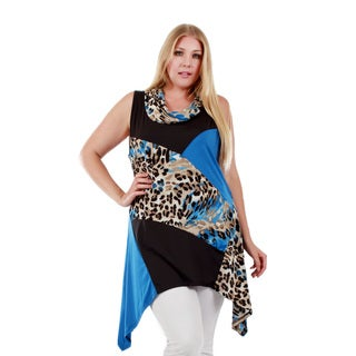 Women's Plus Size Sleeveless Teal/ Black Animal Pattern Cowl Neck Tunic with Sidetail