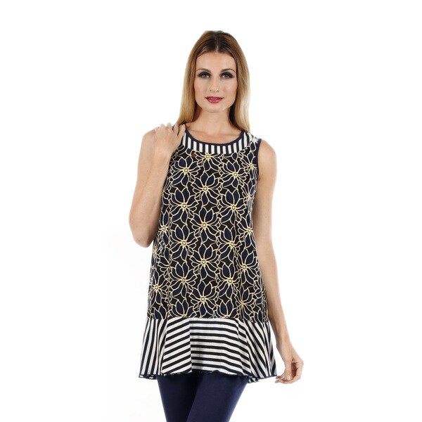 Women's Sleeveless Blue/ Beige Floral and Stripe Pattern Tunic