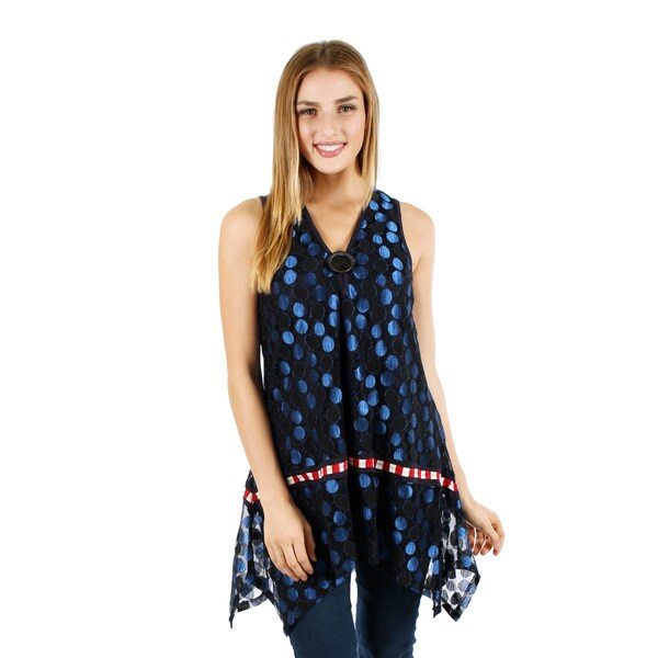 Women's Sleeveless Blue Multi Polka Dot Pattern Tunic with Sidetail