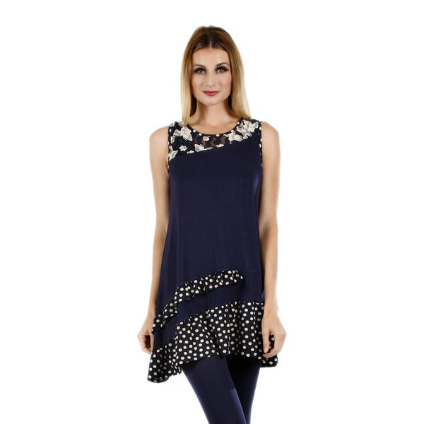 Women's Sleeveless Blue/ White Floral and Polka Dot Pattern Tunic