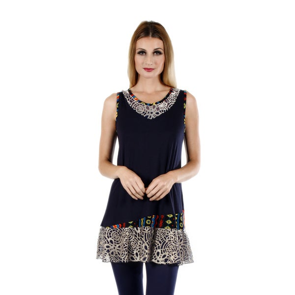 Women's Sleeveless Blue Multi Tunic