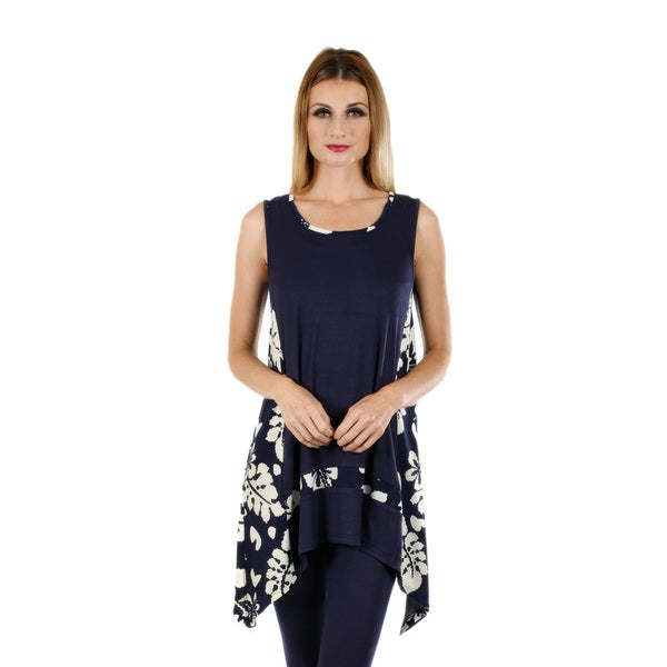 Women's Sleeveless Blue/ White Floral Tunic with Sidetail