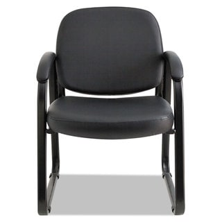 Alera Reception Lounge Series Black Vinyl, Sled Base Guest Chair