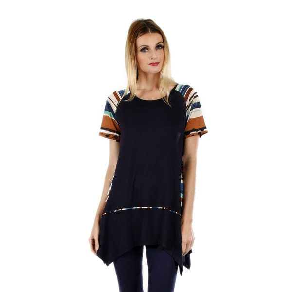 Women's Short Sleeve Blue Multicolor Tunic with Sidetail
