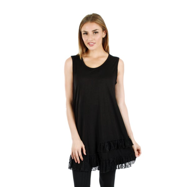 Women's Sleeveless Black Tunic with Lace Ruffle