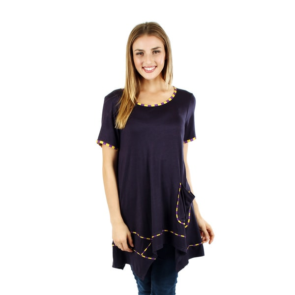 Women's Short Sleeve Blue Multi Tunic with Pocket and Sidetail