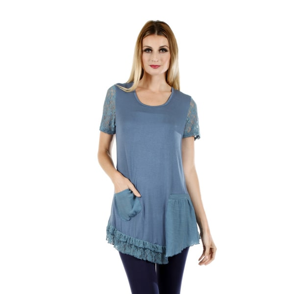 Women's Short Sleeve Turquoise Tunic with Pocket and Lace Sleeve and Ruffle