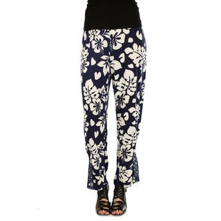 Women's Loose-fitting Long Blue/ White Dress Pants with Lace
