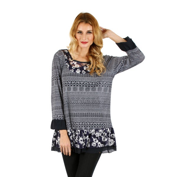 Women's Long Sleeve Blue/ Grey Floral Pattern Tunic with Lace Ruffle