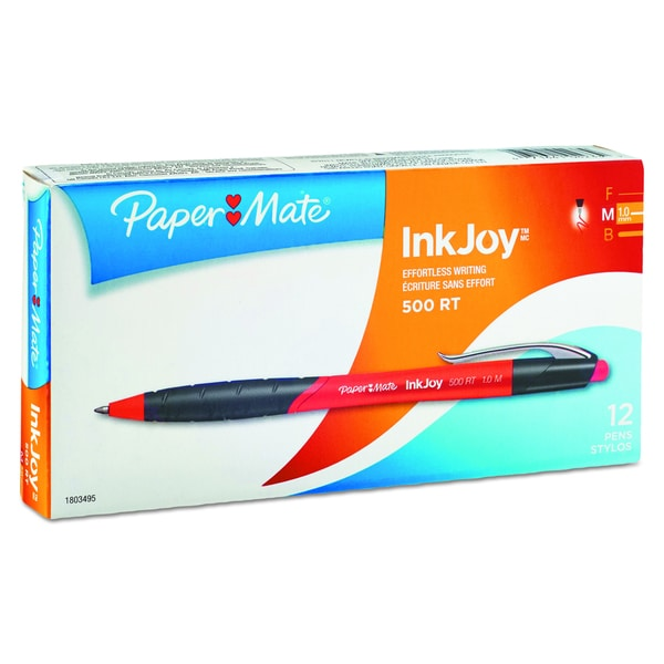 Paper Mate InkJoy 500 RT Red Ballpoint Retractable Pen (2 Packs of 12)