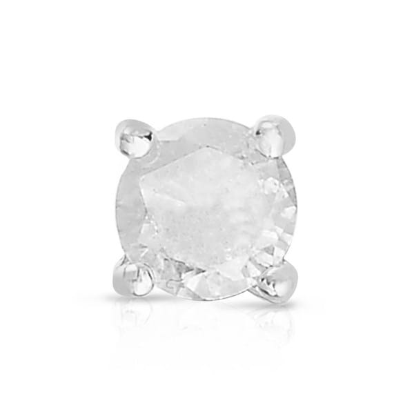 Finesque Sterling Silver or Platinum Over Sterling SIilver 1 ct TDW Single Diamond Stud Earring (I-J, I2-I3)