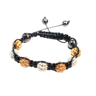 Yellow and White Crystal Ball Bead Drawstring Bracelet
