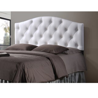 Baxton Studio Whalen White Contemporary Faux Leather Upholstered Button Tufted Headboard