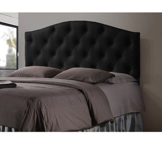 Baxton Studio Whalen Black Contemporary Faux Leather Upholstered Button Tufted Headboard