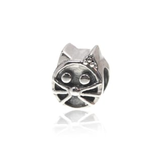 Sterling Silver Kitty Cat Bead Charm for European Style Charm Bracelets
